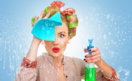 Funny housewife with rag / wipe and cleaning spray for window. F